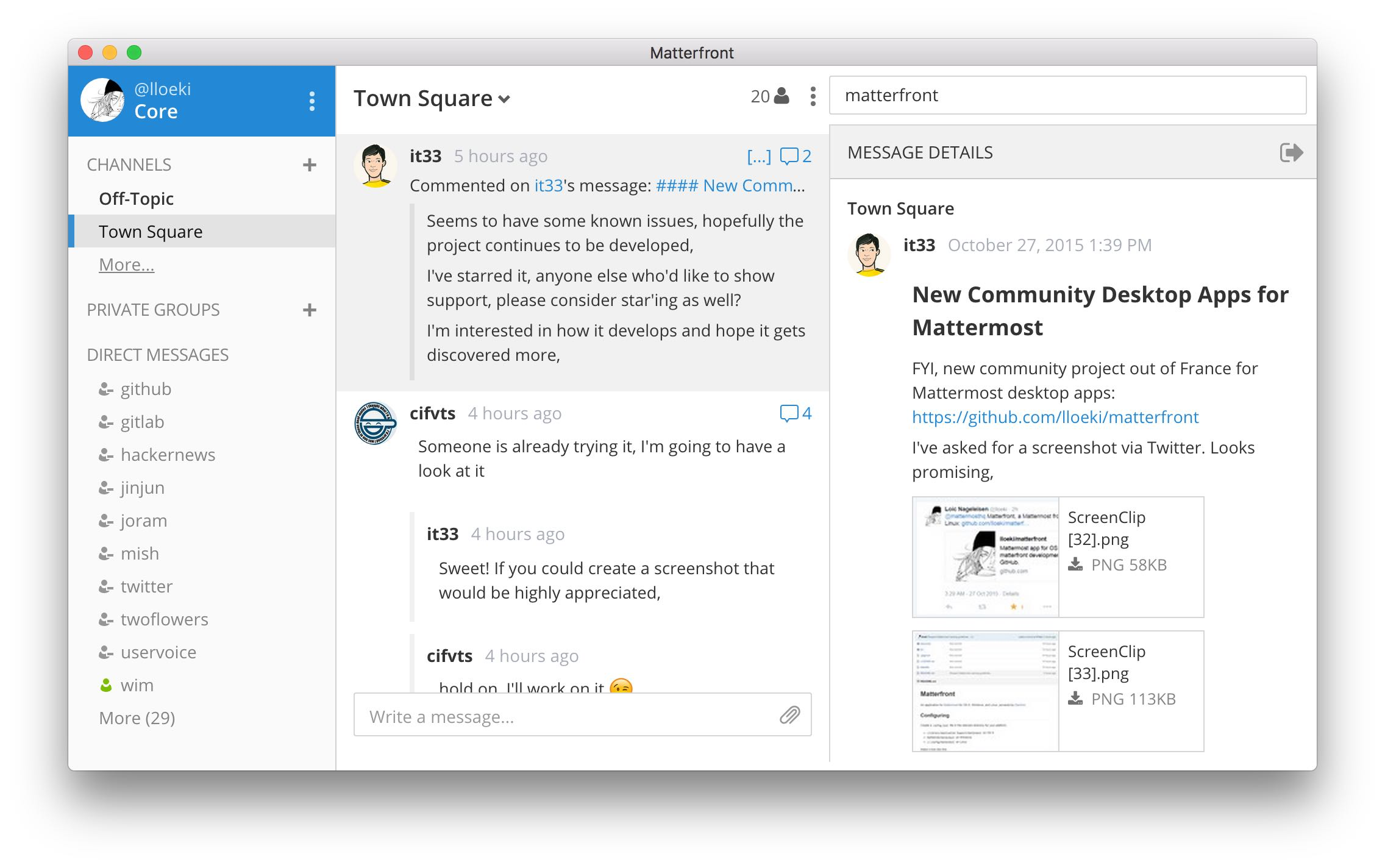 Matterfront desktop client for Mattermost