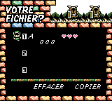 Zelda: Link's Awakening File Selection menu in French