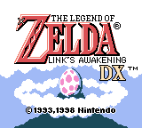 Zelda: Link's Awakening Title screen menu in English